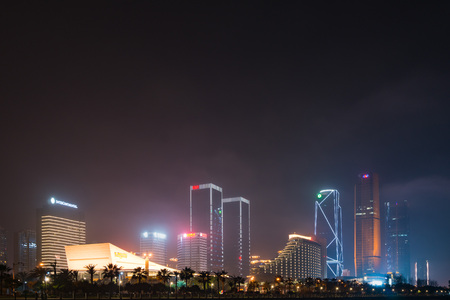 Xiamen, China - Apr 05, 2018: Xiamen International Convention and Exhibition Center at Night