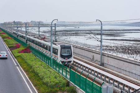 Xiamen, China - Apr 07, 2018: Running Subway At Seaside Near Xiamen Garden Expo Editorial