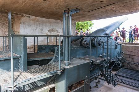 Xiamen, China - Apr 30, 2018: Krupp Cannon in Hulishan Fortress Editorial