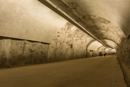 Xiamen, China - Mar 31, 2018: People Across  Longshan Tunnel at Gulangyu Island