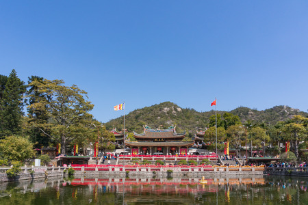 Xiamen, China - Feb 13, 2018: South Putuo Temple or Nanputuo Temple with Blue Sky Background