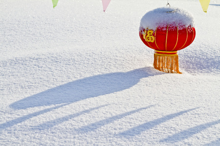 is covered: Lantern covered with snow