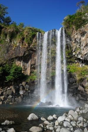 Jeongbang waterfall, Jeju Island, Korea Stock Photo