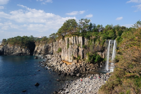 Jeongbang waterfall, Jeju Island, Korea photo