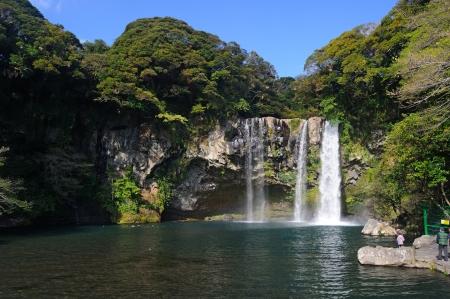 Cheonjiyeon waterfall, Jeju Island, Korea Stock Photo