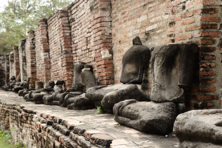 Damaged Statue of the Buddhaa in temple in Ayutthaya,Thailand Stock Photo - 17472703