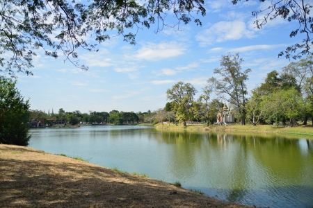 Phraram Lake with temple in Ayutthaya in Thailand Stock Photo - 17472697
