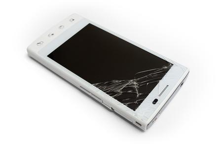 Broken phone on white background 스톡 콘텐츠