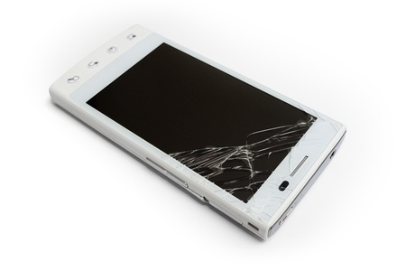 Broken phone on white background Stock Photo