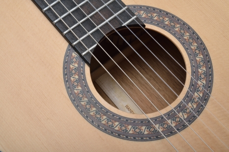 Decorated Sound hole of classic guitar Stock Photo - 17546479