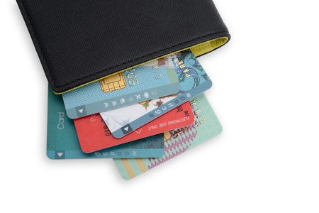 Black wallet with Credit Cards Bunch photo