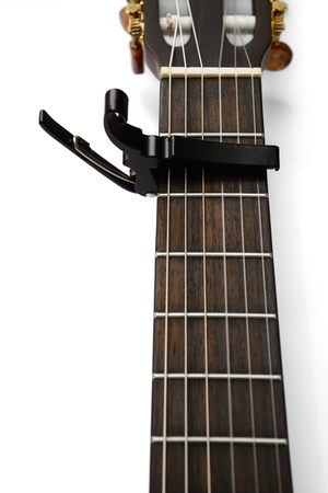 Electric Acoustic guitar neck with a capo Stock Photo - 17546531