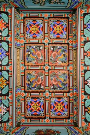 a decoration pattern of korean traditional temple roof photo