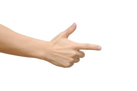 rock paper scissors, scissors hand, isolated on white photo