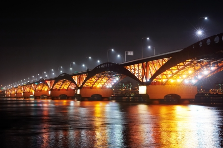 Korea Han-river s bridge, SeongSan Bridge Imagens - 20568547