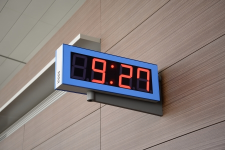 Digital Clock on a wall Stock Photo