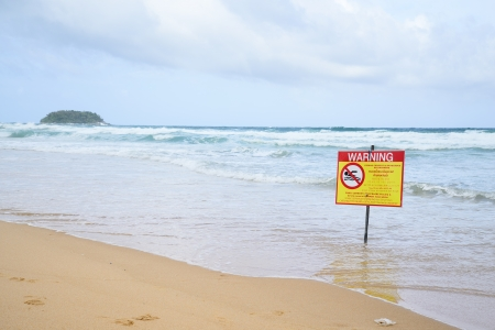 no swimming warning, in beach in Karon, Phuket photo
