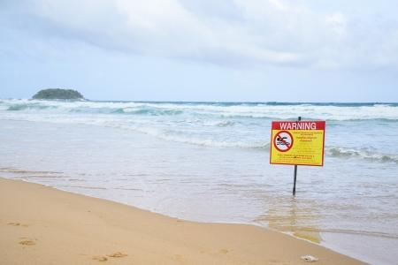 no swimming warning, in beach in Karon, Phuket