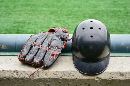 Baseball gloves and Helmet photo