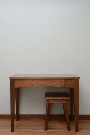 wooden Brown Table and chair in bedroom