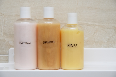 Three bottles for shampoo or Rinse with Name label photo