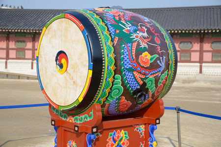 Korean traditional drum called buk, with Taegeuk symbol photo