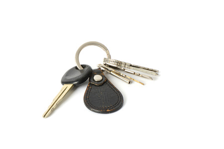 leather key chain, isolated on white photo