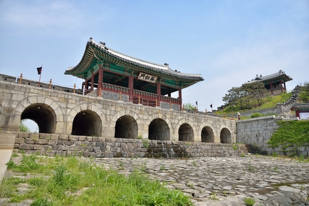 Hwahongmun, otherwise known as Buksumun, is the gate under which the Suwoncheon flows on entering the area encompassed by Hwaseong. It formerly exited through Namsumun, but this gate no longer exists. The gate has the obvious function of being a bridge, b