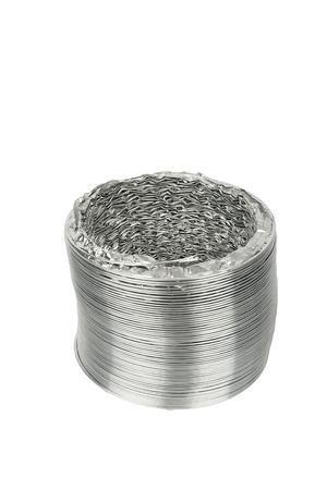pleated: pleated aluminum veltilation pipes isolated on white