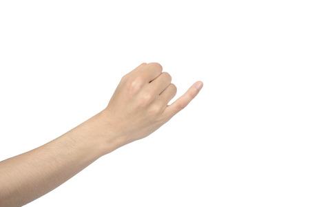dedo me�ique: la mano del gesto promesa, aislado en blanco Foto de archivo