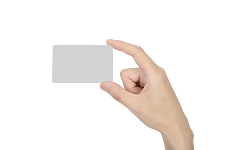 hand hold a blank card, isolated on white photo