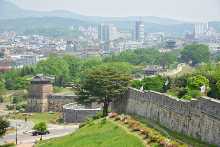 unesco world cultural heritage: Hwaseong is the wall surrounding the centre of Suwon, the provincial capital of Gyeonggi-do, South Korea. Editorial