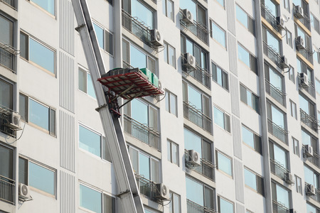 ladder truck for moving at apartment in Korea Stock Photo