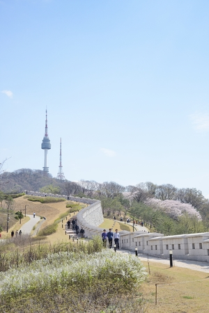 SEOUL, KOREA - APRIL 04, 2014: View of Namsan and N tower in Seoul, Korea
