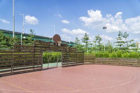 futsal and basketball arena in sunny day photo