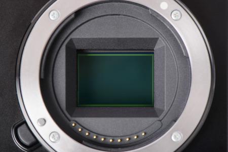 closeup of APS-C image sensor in mirrorless camera 스톡 콘텐츠