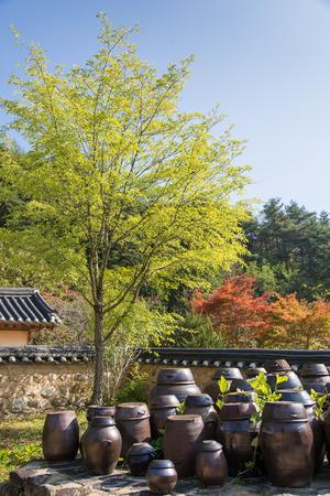 korean traditional crocks flatform at back yard