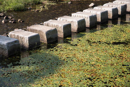 stepping stones cross over a stream in outdoor photo