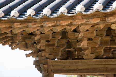 constructive: YEONGJU, KOREA - OCTOBER 15, 2014: Roof support system of Anyangru, one of architectures at Buseoksa Temple, built in Joseon dynasty period. Buseoksa temple is the second oldest temple constructed in Silla period.