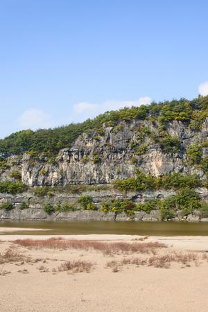 folk village: rock cliff called Buyongdae in Andong Hahoe folk village.