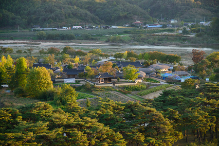 View of Andong Hahoe folk Village in Korea
