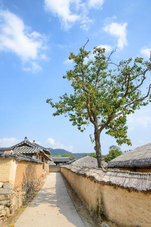 folk village: alleyway in Andong Hahoe folk village in Korea
