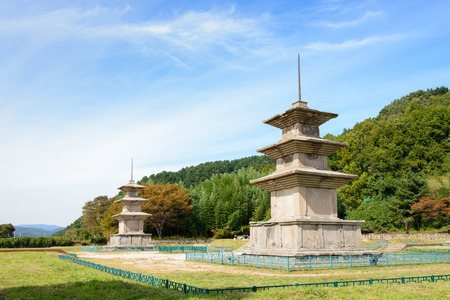 three story: two three story stone pagoda at the Gameunsa site. These are the No.112 National Treasure of Korea.