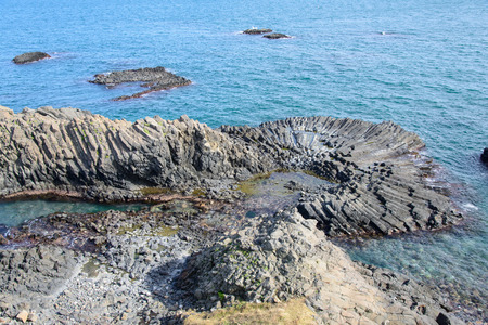 Yangnam columnar joint is famous for the lied or fan shape. This is the No.536 Natural Monument of Korea. photo