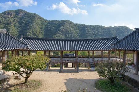 ancient buildings: Andong, Korea - October 16, 2014: Mandaeru at Byeongsanseowon. Byeongsanseowon is the lacal academy during the Joseon dynasty located in Andoong, Korea.