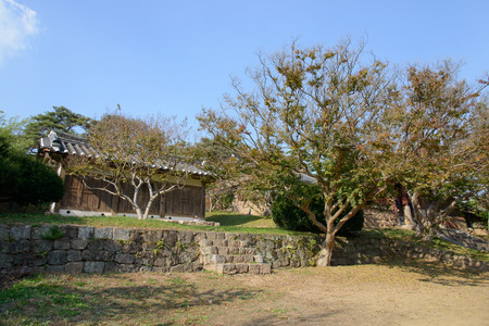 woodblock: Andong, Korea - October 16, 2014: Jangpangak, build for store woodblock print, in Byeongsanseowon. Byeongsanseowon is the lacal academy during the Joseon dynasty located in Andoong, Korea.