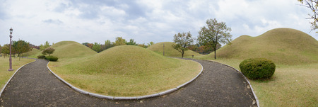 GYEONGJU, KOREA - OCTOBER 20, 2014: Daereungwon Ancient Tombs, royal tombs in the Silla Era. Located in Gyeongju, Korea.