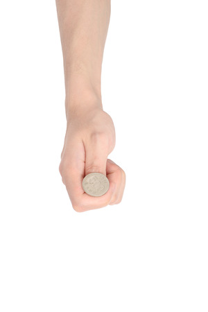 tossing: hand tossing a coin, isolated on white Stock Photo