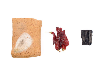 ferment: meju (fermented soybean lump) and basic ingredients to make doenjang, isolated on white.