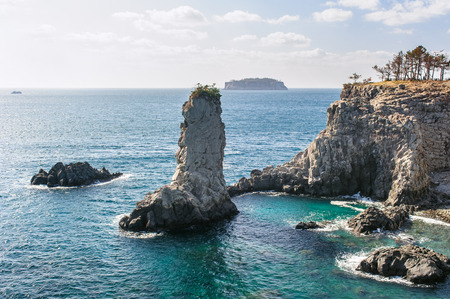 Oedolgae, 20-meter tall pillar shaped Rock in Jeju island